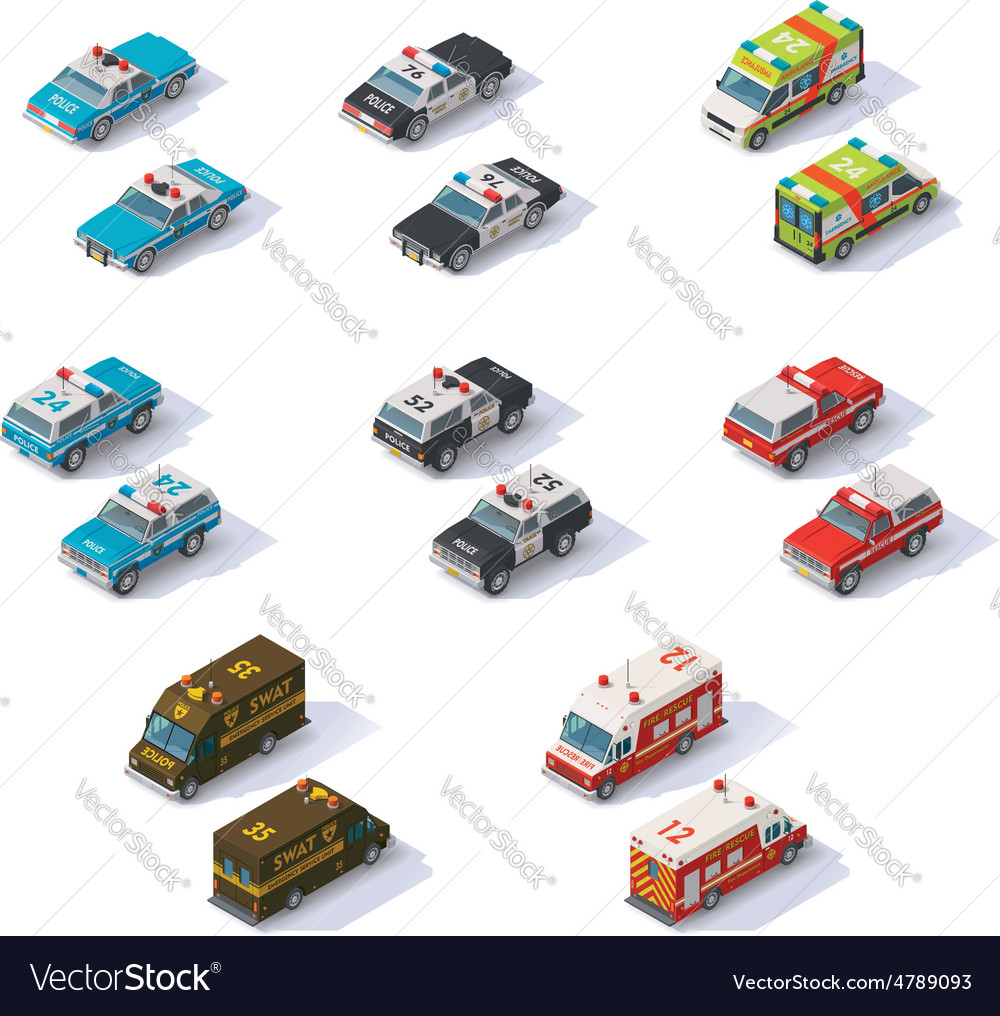 Isometric emergency services cars set vector