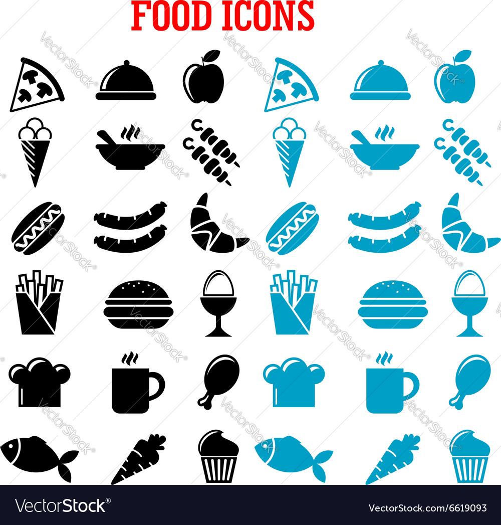 Restaurant and fast food flat icons vector