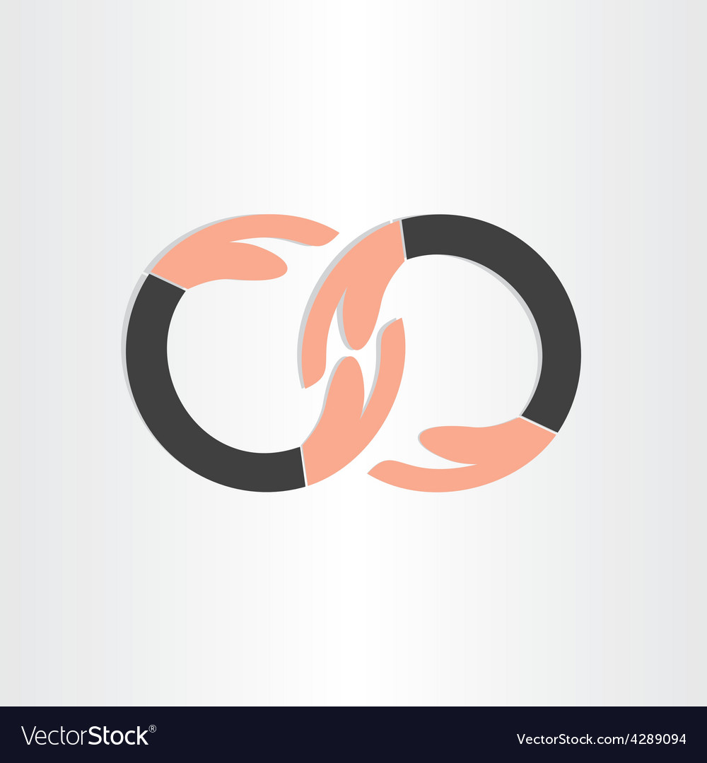 Infinity symbol with human hands vector