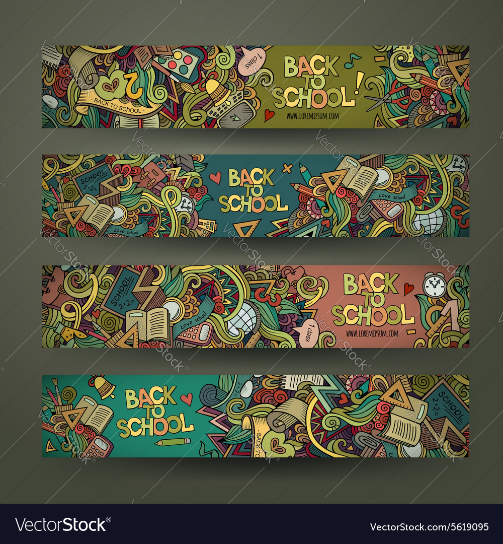 Hand drawn doodles school design banners vector