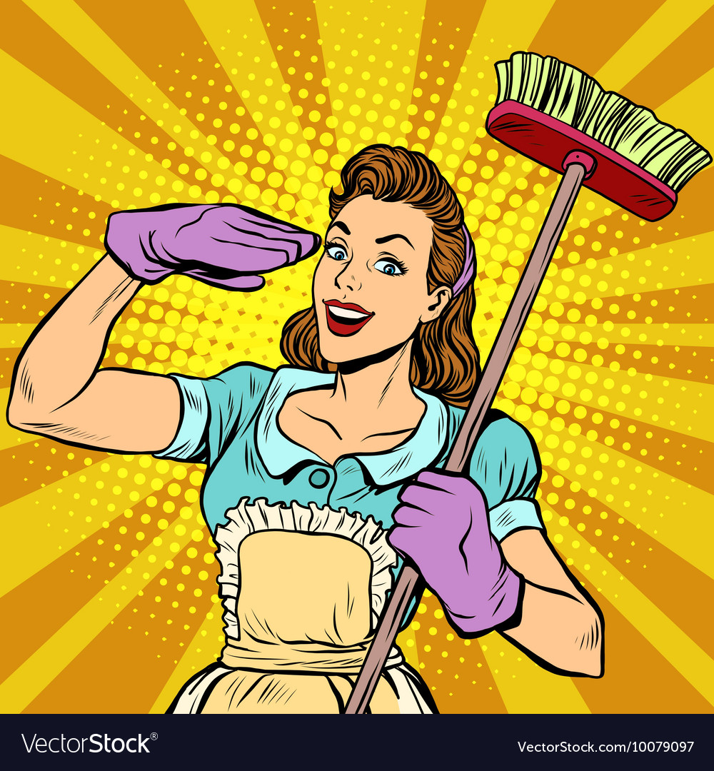 Female cleaner cleaning company pop art retro vector
