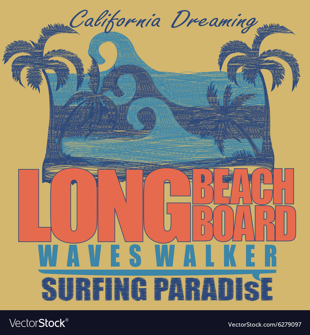 Long beach surfing tshirt graphic design vector
