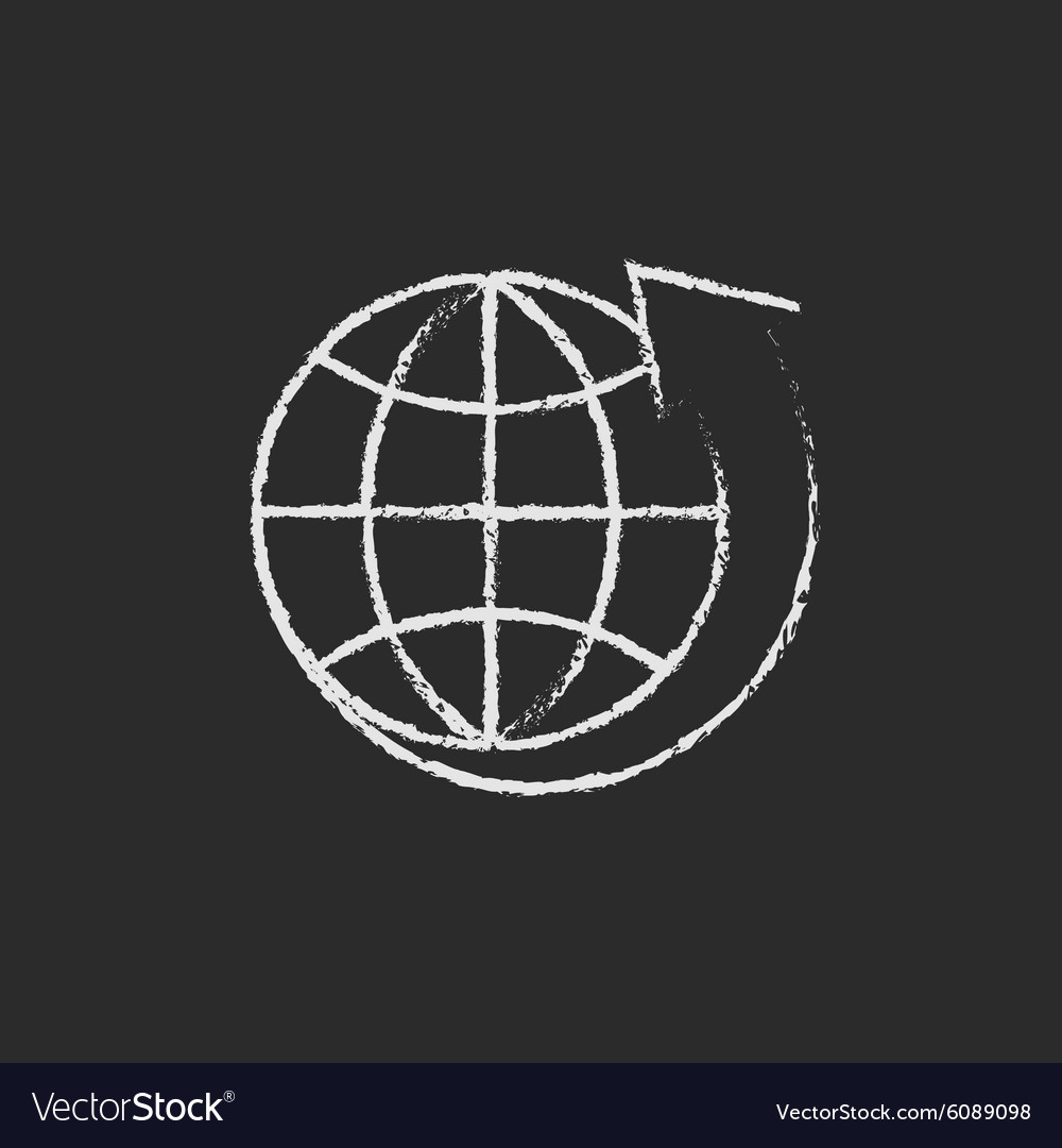 Earth and arrow around icon drawn in chalk vector