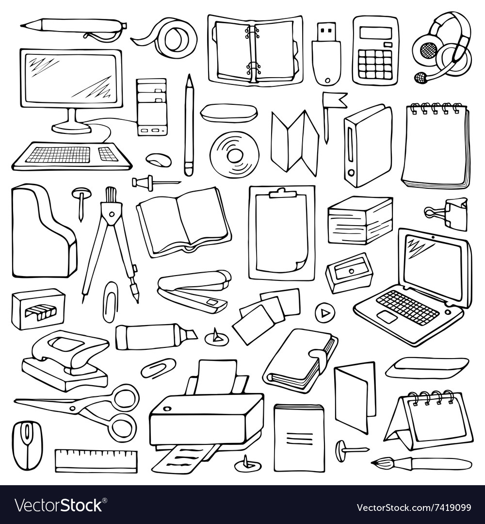 Hand drawn office set vector