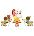 Math teacher teaching children in class vector image