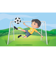 A young man playing football vector image vector image