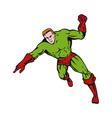 cartoon super hero running punching vector image