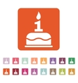 The birthday cake with candles in the form of vector image