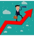 Businessman stand on arrow graph vector image