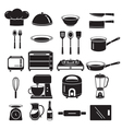 Kitchen Equipment Icons Set Monochrome vector image