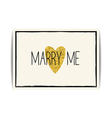 Love template with gold glitter heart and Marry me vector image