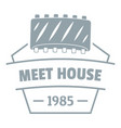 meat house logo simple gray style vector image