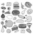 Monochrome hand drawn food vector image