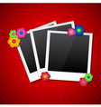 Photo frames with colored flowers vector image