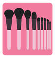 set of make up brushes vector image