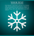 snowflake icon isolated on green background vector image