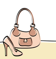 Abstract handbag and woman shoe vector image vector image