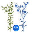 hand drawn silhouettes of flax plant vector image vector image