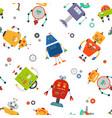 robots seamless pattern children robo background vector image