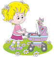 Girl with a toy baby buggy vector image vector image