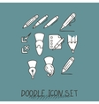 Set of Universal Doodle Icons Variety of Topics vector image
