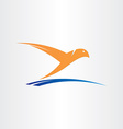 bird flying over water abstract symbol vector image