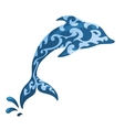Blue ornamental dolphin vector image