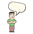 cartoon tough guy with folded arms with speech vector image