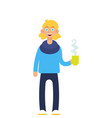 hipster guy with coffee cup vector image