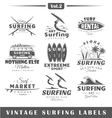 Set of vintage surfing labels Vol2 vector image