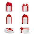Set of white gift boxes with red bows and ribbons vector image