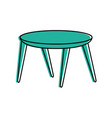 wooden round table furniture decoration vector image