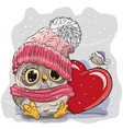 cute cartoon owl in a knitted cap vector image
