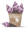 ice cream cones in a basket lavender flavours vector image