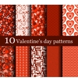 set of 10 seamless valentine day patterns vector image
