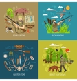 Hunting 2x2 Design Concept Set vector image