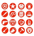 police icons set red buttons vector image