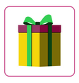 Colorful wrapped gift box icon yellow vector image