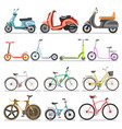bicycles and kick scooters wheel pedal vehicles vector image