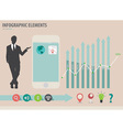 businessman showing touchscreen device wi vector image