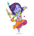 cartoon krishna dance vector image