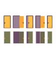set of doors in yellow and green vector image