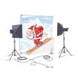 Skiing Santa Claus vector image