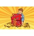 Pop art boy opens the gift box vector image