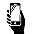 Phone in hand sign vector image