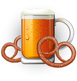 Mug of beer with pretzels Oktoberfest vector image