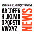 Sans serif font in newspaper style vector image