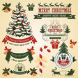 Christmas set of elements for design vector image vector image