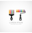 Colorful paint brush and paint roller icons vector image