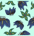 fantasy hand-drawn floral seamless pattern vector image